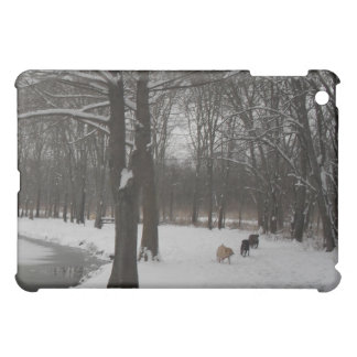 labs playing in snow by the pond iPad mini covers