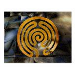 labyrinth antique | grunge de oro mosaic postal