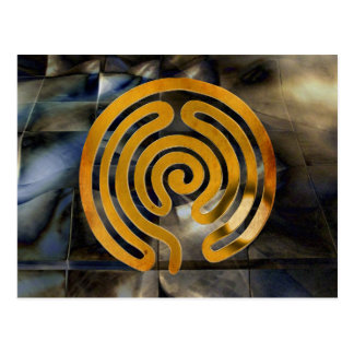 labyrinth antique | grunge de oro mosaic tarjetas postales