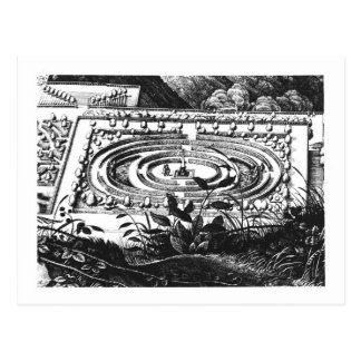 Labyrinth at Heidelberg, Hortus Palatinus (engravi Postcard