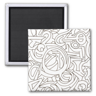 Labyrinth - Black And White Modern Art Magnet
