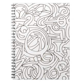 Labyrinth - Black And White Modern Art Spiral Notebooks