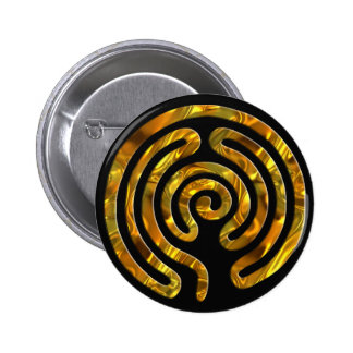 Labyrinth GOLD | black Pinback Buttons
