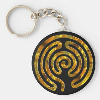 Labyrinth GOLD | black Keychain