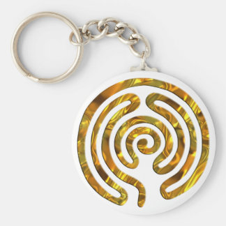 Labyrinth GOLD | make your own background Basic Round Button Keychain