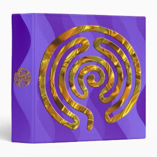 Labyrinth GOLD   violet waves 3 Ring Binder