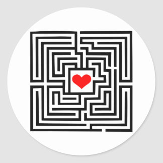 Labyrinth - Heart Classic Round Sticker