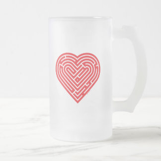 Labyrinth Heart Frosted Glass Beer Mug