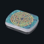 """Labyrinth Mosaic II Jelly Belly Candy Tin<br><div class=""""desc"""">This design is a simplified version of the labyrinth at Chartres Cathedral in France. There is a sister version at Grace Cathedral in San Francisco. People walk the labyrinth in meditation,  for spiritual reflection. This design was painted by hand to look like mosaic by Paula Pertile.</div>"""