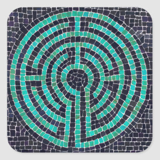 Labyrinth Mosaic III Square Stickers
