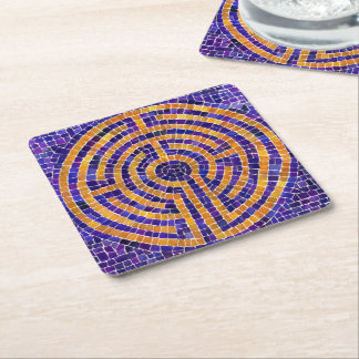 Labyrinth Mosaic Square Paper Coasters