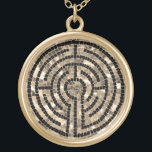"""Labyrinth V Round Necklace - Gold Finish<br><div class=""""desc"""">This design is a simplified version of the labyrinth at Chartres Cathedral in France. There is a sister version at Grace Cathedral in San Francisco. People walk the labyrinth in meditation,  for spiritual reflection.</div>"""