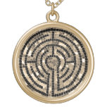 Labyrinth V Round Necklace - Gold Finish