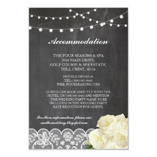 Lace Accommodation Chalkboard Lights Wedding Cards