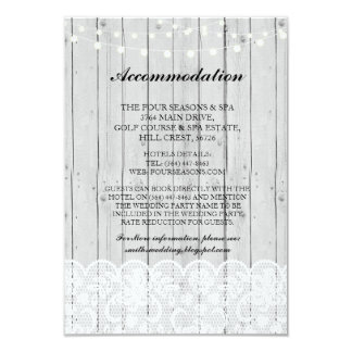 Lace Accommodation Grey Wood Lights Wedding Cards