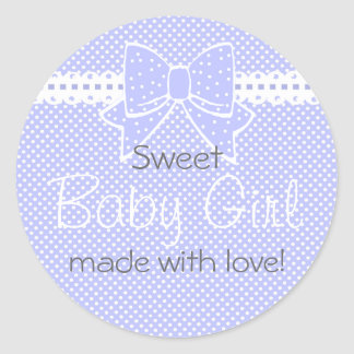 Lace and Bow Lavender Baby Shower Favor Classic Round Sticker