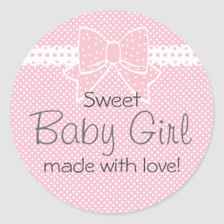 Lace and Bow-Pink Baby Shower Favor Sticker