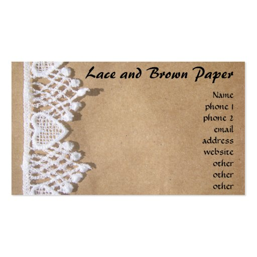 Lace and brown paper business cards zazzle for Brown paper business cards
