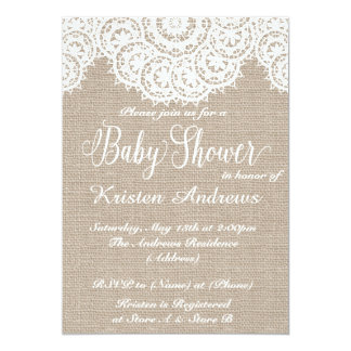 Lace And Burlap Baby Shower Invitation