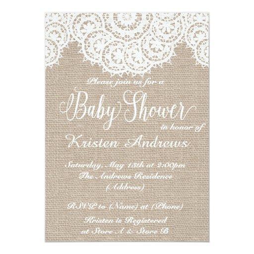 lace and burlap baby shower invitation zazzle