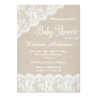lace and burlap baby shower invitation ii