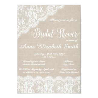 Lace and burlap Bridal Shower Invitation II