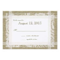 Lace and Burlap Country Romance Reply Personalized Invites