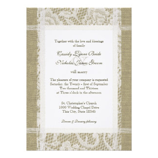 Lace and Burlap Country Romance Wedding Custom Announcements