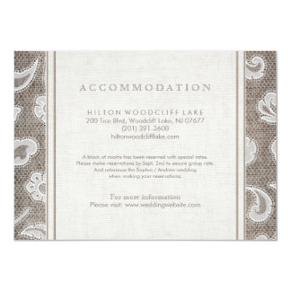 Lace and burlap country wedding accommodation card