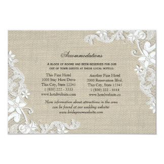 Lace and Burlap Directions Insert 3.5x5 Paper Invitation Card