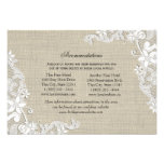 Lace and Burlap Directions Insert Invitations