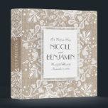 """Lace and Burlap Elegant Vintage Wedding 3 Ring Binder<br><div class=""""desc"""">Lace and burlap wedding memories book - binder</div>"""