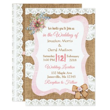 Wedding Themed Lace and Burlap Floral Wedding Invitation