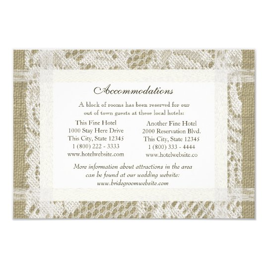 Lace and Burlap Look Directions Insert Card