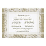 Lace and Burlap Look Directions Insert Custom Announcement