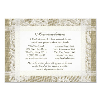 Lace and Burlap Look Directions Insert 3.5x5 Paper Invitation Card