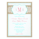 Lace and Burlap Monogram Rustic Wedding 5x7 Paper Invitation Card