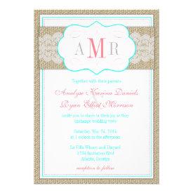 Lace and Burlap Monogram Rustic Wedding Custom Announcements