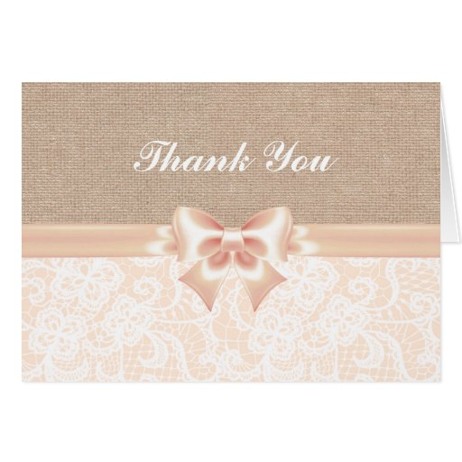 lace and burlap Peach Thank You Card