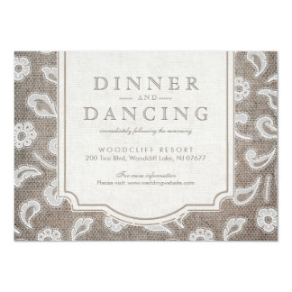 Lace and burlap rustic country wedding reception card