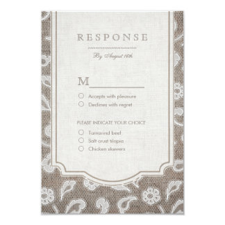 Lace and burlap rustic country wedding RSVP Card