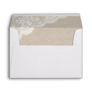 Lace and burlap Rustic envelope IV