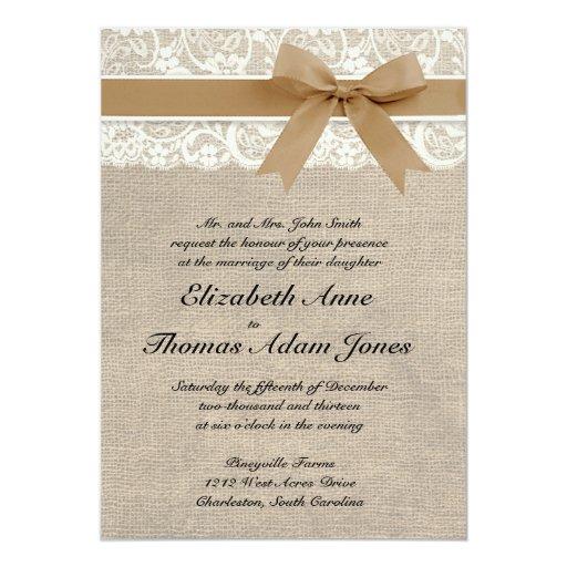 "Lace and Burlap Rustic Wedding Invitation- Caramel 5"" X 7"" Invitation Card"