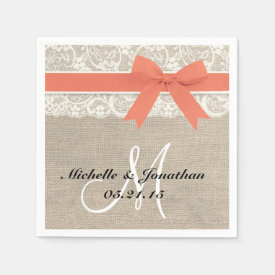 Lace and Burlap Rustic Wedding Napkin Coral