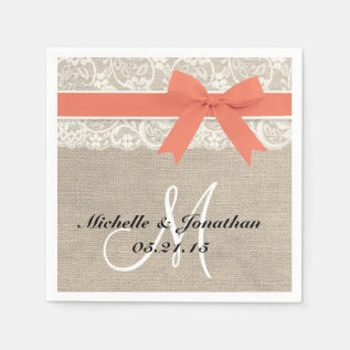 Lace And Burlap Rustic Wedding Napkin Coral at Zazzle