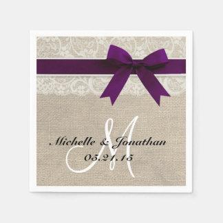 Lace and Burlap Rustic Wedding Napkin Plum Paper Napkin