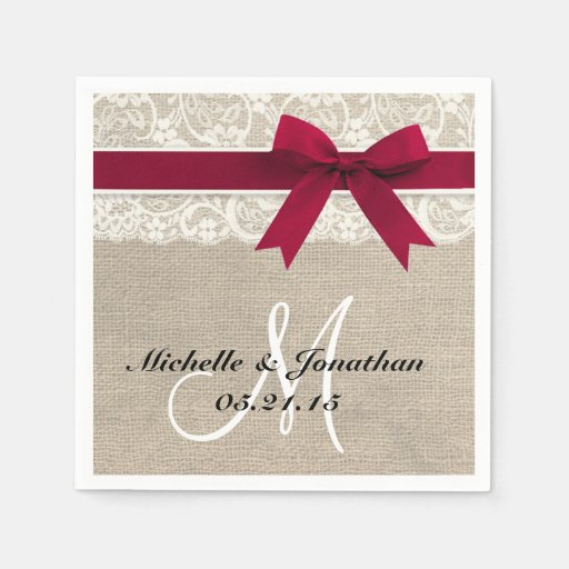 Rustic Wedding Napkins: Lace And Burlap Rustic Wedding Napkin Red Standard