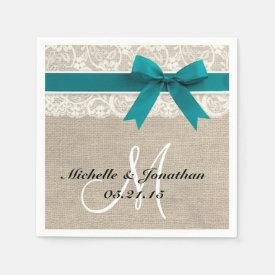 Lace and Burlap Rustic Wedding Napkin Turquoise