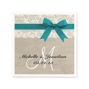 Lace and Burlap Rustic Wedding Napkin Turquoise Standard Cocktail Napkin