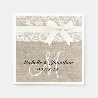 Lace and Burlap Rustic Wedding Napkin White Standard Cocktail Napkin